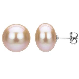 DaVonna Sterling Silver Pink Freshwater Pearl Stud Earrings (11-12 mm)