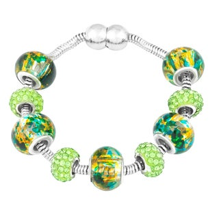 La Preciosa Silvertone Green Crystal and Glass Beads Pandora-inspired Magnetic Bracelet