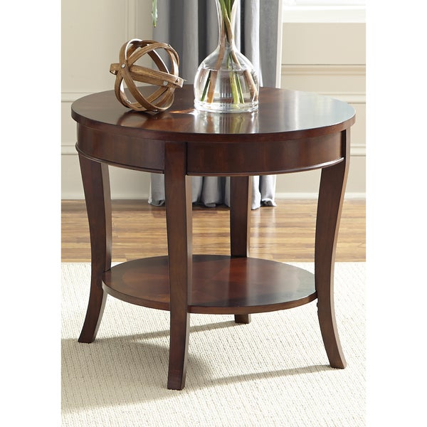 Liberty rich cherry round end table overstock shopping for Coffee tables overstock