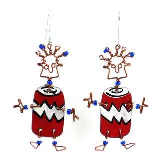 Dancing Girl Soda Can Earrings (Kenya)