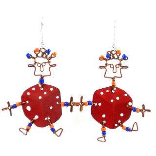 Dancing Girl Lucky Dice Earrings (Kenya)