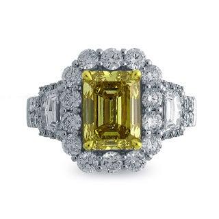 18K Two-tone Gold 4 1/2ct TDW Emerald-cut Natural Fancy Deep Yellow Diamond Ring (G-H, SI1-SI2)