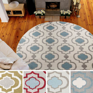 """Meticulously Woven Olathe Transitional Geometric Area Rug (7'10"""" Round)"""