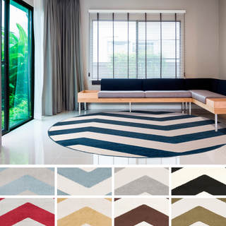 """Meticulously Woven Neale Modern Geometric Area Rug (7'10"""" Round)"""