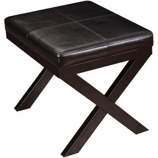 Adeco Black Bonded Leather Ottoman/ Footrest with X-shaped Legs