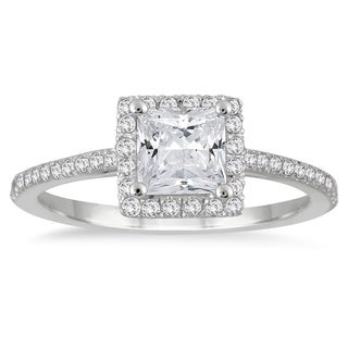 14k White Gold 1ct TDW Princess-cut Diamond Halo Ring (I-J, I1-I2)