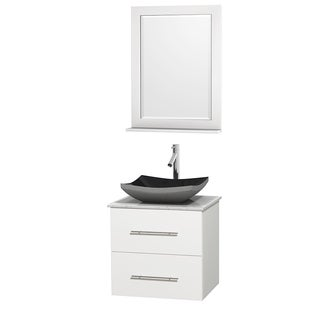 Wyndham Collection Centra 24-inch Single Bathroom Vanity in White, w/ Mirror (Black Granite, Ivory Marble or White Carrera)