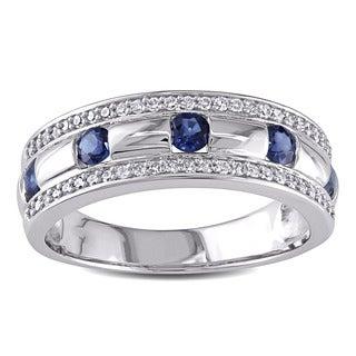 Miadora 10k White Gold Sapphire and 1/4ct TDW Diamond Men's Ring (G-H,I1-I2)