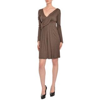 Emanuel Ungaro Women's Heather Brown Cashmere Day Cocktail Dress