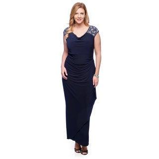 Alex Evenings Women's Plus Navy Beaded Shoulder Gown