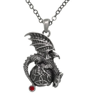 CGC Pewter Dragon Celtic Trinity Knot Orb Pendant 24-inch Chain Necklace