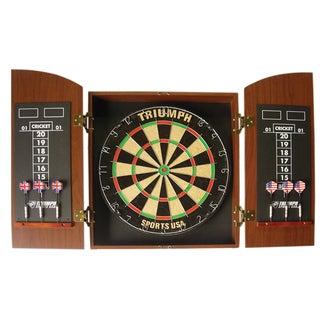 Triumph Sports Mahogany Round Top Dartboard Cabinet