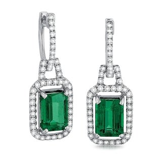 18k White Gold 3/4ct TDW Diamond and Emerald Earrings (G-H, SI1-SI2)