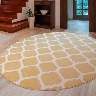 "Meticulously Woven Nyles Modern Geometric Area Rug (7'10"" Round)"
