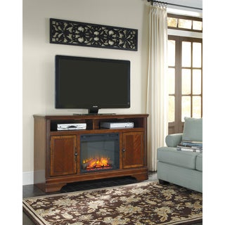 Signature Design by Ashley Hamlyn Dark Brown Large TV Stand with Fireplace