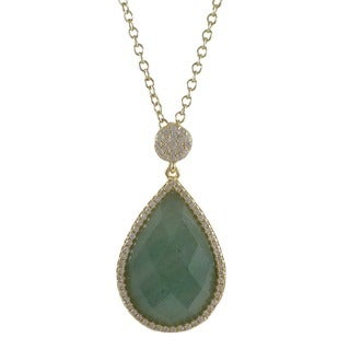 Sterling Silver Gold Finish Faceted Teardrop Semi Precious Surrounded White Cubic Zirconia Pendent Necklace