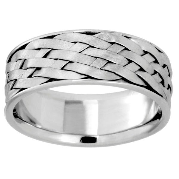 14k White Gold Men s fort Fit Handmade Wedding Band Overstock™ Shopp