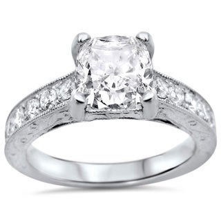 18k White Gold 1 1/2ctw Cushion-cut White Diamond Clarity Enhanced Engagement Ring (G-H, SI1-SI2)