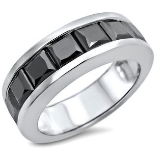 Noori 14k White Gold 4 1/10ct TDW Black Diamond Men's Wedding Band