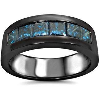 Noori 14k Black Gold 1 3/5ct TDW Blue Diamond Men's Wedding Band (SI1-SI2) (UGL)