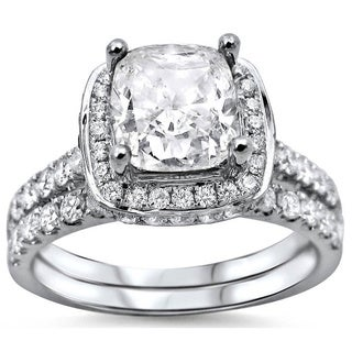 Noori 18k White Gold 2ct Cushion-cut White Diamond Clarity Enhanced Engagement Ring Bridal Set (G-H, SI1-S