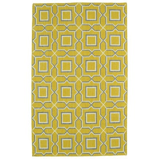 Hollywood Yellow Geo Flatweave Rug (9' x 12')