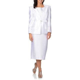 Giovanna Signature Women's White Rhinestone Clasp 3-piece Skirt Suit