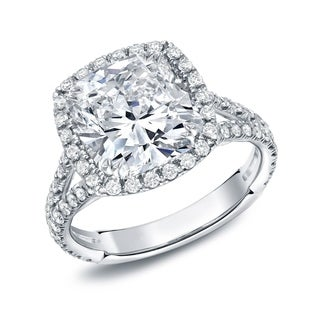 Auriya 18k White Gold 4 1/3ct TDW Cushion-cut Diamond Ring (H-I, VS1-VS2)