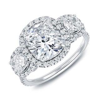 Auriya 14k White Gold 4 2/5ct TDW Certified Cushion Cut Diamond Ring (H-I, VS1-VS2)