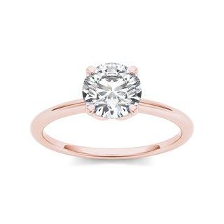 De Couer 14k Rose Gold 1ct TDW Diamond Solitaire Ring (H-I, I1-I2)