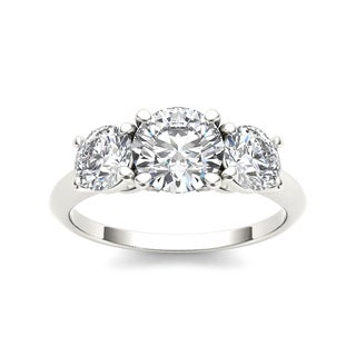 De Couer 14k White Gold 2ct TDW Diamond 3-stone Engagement Ring (H-I, I1-I2)