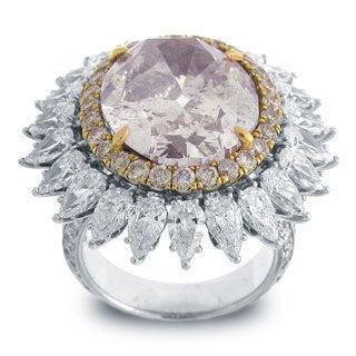 18k White Gold 19ct TDW Oval-cut Certified Pink Diamond Ring (GIA)