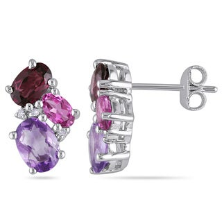 Miadora Sterling Silver 3ct TGW Amethyst, Rhodolite, Pink Tourmaline and Diamond Accent Stud Earring