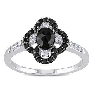 Miadora 10k White Gold 3/4ct TDW Black and White Diamond Flower Ring (H-I, I2-I3)