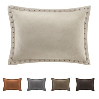 Madison Park Stud Trim Suede Feather Down Filled Oblong Throw Pillow