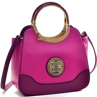 Dasein Hinged Handle Satchel with Removable Shoulder Strap