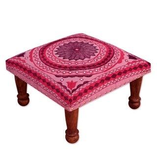 Seesham Wood Cotton Rayon 'Ruby Mandala' Foot Stool (India)