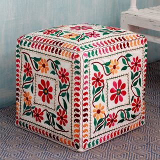 Handcrafted Cotton Rayon 'Barmer Blooms' Ottoman Cover (India)