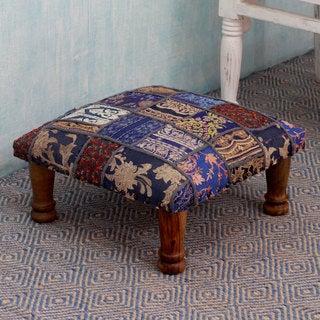 Sheesham Wood Cotton Polyester 'Rajasthan Fantasy' Ottoman (India)