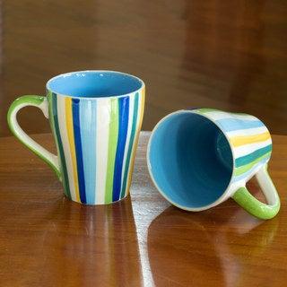 Set of 2 Handcrafted Ceramic 'Good Sky Blue Morning' Mugs (Thailand)