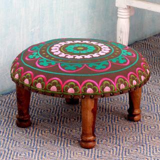 Seesham Wood Cotton Rayon 'Polychrome Jaipur' Foot Stool (India)
