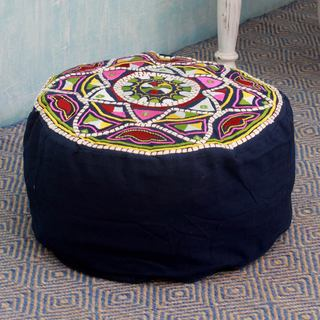 Handcrafted Cotton Rayon 'Rajasthan Galaxy' Ottoman Cover (India)