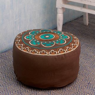 Handcrafted Cotton Rayon 'Jaipur Greeting' Ottoman Cover (India)