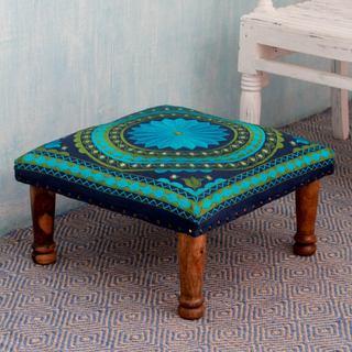 Seesham Wood Cotton Rayon 'Turquoise Mandala' Foot Stool (India)