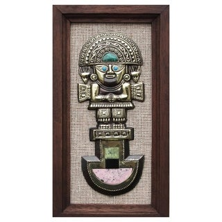 Handcrafted Gemstone Inlay Bronze 'Tumi Deity' Wall Art (Peru)