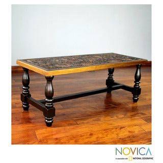Handcrafted Mohena Wood Leather 'Andean Birds' Coffee Table (Peru)