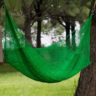 Handcrafted Nylon 'Caribbean Emerald' Hammock (Double) (Mexico)