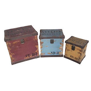 Assorted Distressed Storage Chests (Set of 3)