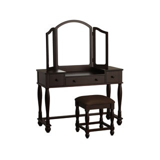 Powell Espresso Vanity and Square Bench