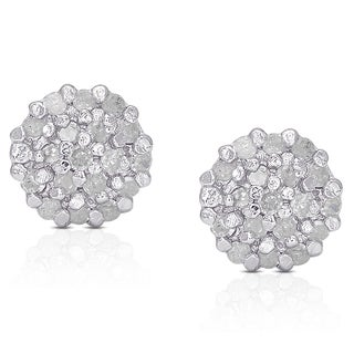 Finesque Sterling Silver 1/4ct White Diamond Pave Ball Stud Earrings (I-J, I2-I3)